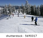 skiers in busy ski resort | Shutterstock . vector #5690317