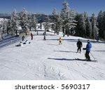 skiers in busy ski resort   Shutterstock . vector #5690317
