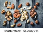 walnuts  hazelnuts  almonds and ... | Shutterstock . vector #569039941
