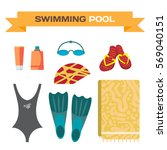 swimwear and accessories for... | Shutterstock .eps vector #569040151