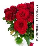 Bouquet Of Fresh Dark Red Rose...