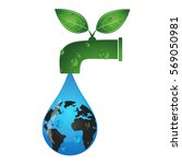 drop from the tap eco symbol | Shutterstock .eps vector #569050981