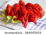 boiled red crayfish on the... | Shutterstock . vector #569055925