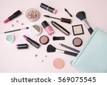 a blue make up bag with... | Shutterstock . vector #569075545