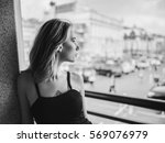 black and white portrait of... | Shutterstock . vector #569076979