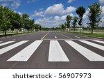 Zebra Traffic Walk Way With...