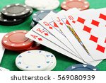 hand of royal flush playing...   Shutterstock . vector #569080939