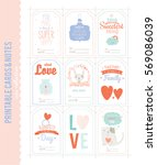 collection of valentines day... | Shutterstock .eps vector #569086039