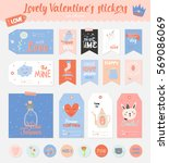 collection of valentines day... | Shutterstock .eps vector #569086069