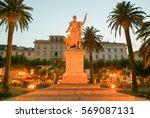 Small photo of Bastia, France - 15 July 2006: Statue of Bonaparte Napoleon at Bastia on Corsica island, France