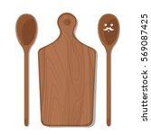 vector kitchen wooden supplies... | Shutterstock .eps vector #569087425