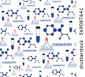 seamless vector chemistry and... | Shutterstock .eps vector #569087641