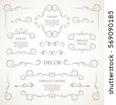 vector set of decorative... | Shutterstock .eps vector #569090185