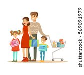 family of four. colorful vector ... | Shutterstock .eps vector #569091979