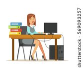 woman working at her desk with... | Shutterstock .eps vector #569093257
