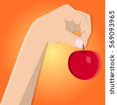 hand. red apple in hand. vector ...