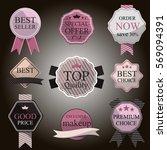 set of vintage badges and... | Shutterstock .eps vector #569094391