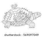 steampunk style turtle.... | Shutterstock .eps vector #569097049