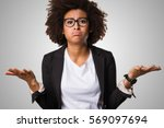 business black woman doubting... | Shutterstock . vector #569097694