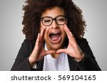 business black woman shouting... | Shutterstock . vector #569104165