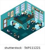 isometric cafe blue cafe... | Shutterstock .eps vector #569111221