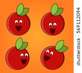 vector set of funny apple....