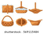 collection basket for picnic... | Shutterstock .eps vector #569115484