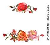 wildflower rose flower frame in ...   Shutterstock . vector #569121187