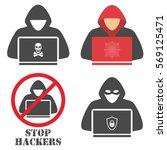 hacker icons. | Shutterstock .eps vector #569125471