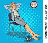 pop art tired business woman... | Shutterstock .eps vector #569134105