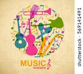 musical round composition with... | Shutterstock .eps vector #569141491