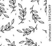 hand drawn leaves seamless... | Shutterstock .eps vector #569142649