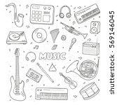 set of a various musical... | Shutterstock .eps vector #569146045