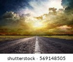 country road across the steppe | Shutterstock . vector #569148505