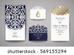 set of wedding invitation... | Shutterstock .eps vector #569155294