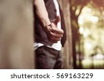 man showing ok with thumbs up.  | Shutterstock . vector #569163229