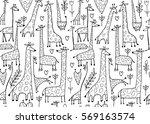 funny giraffes sketch  seamless ...   Shutterstock .eps vector #569163574