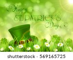 sunny background with clover... | Shutterstock .eps vector #569165725