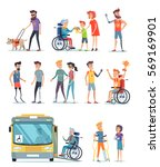disabled people and help for... | Shutterstock .eps vector #569169901