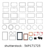 big set of round  black and... | Shutterstock .eps vector #569171725