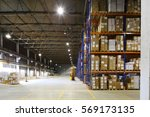 large storage room with shelves ... | Shutterstock . vector #569173135