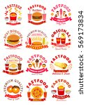 fast food symbols set of... | Shutterstock .eps vector #569173834