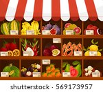 fruit market stand. exotic... | Shutterstock .eps vector #569173957
