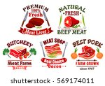meat icons. butcher shop vector ... | Shutterstock .eps vector #569174011