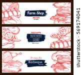 meat and sausage banners. pork... | Shutterstock .eps vector #569174041