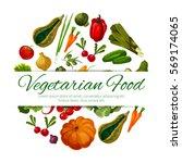 vegetables poster. squash ... | Shutterstock .eps vector #569174065
