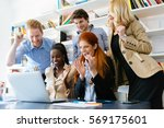 successful company celebrates... | Shutterstock . vector #569175601