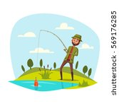 man catching and pulling fish... | Shutterstock .eps vector #569176285