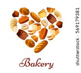heart of bread. bakery vector... | Shutterstock .eps vector #569179381