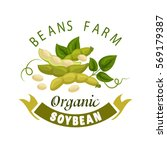 soybean vector poster. organic... | Shutterstock .eps vector #569179387